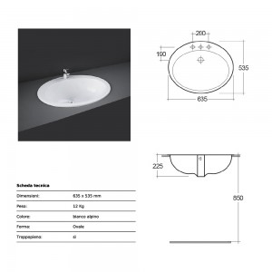 Lavabo incasso soprapiano Rak Ceramics 63,5x22,5x53,5