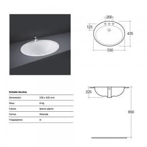 Lavabo incasso soprapiano bianco Rak Ceramics 53x22,5x43,5