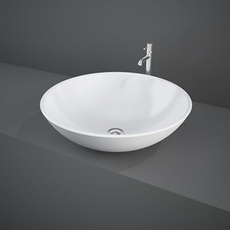 Lavabo da Appoggio tondo d. 45,5 x h. 16 cm Rak Diana in ceramica bianco lucido
