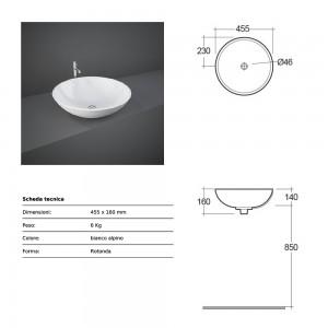 Lavabo da appoggio modello Diana bianco Rak Ceramics 45,5x16x45,5