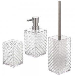 Set 3 accessori bagno appoggio bianco trasparente