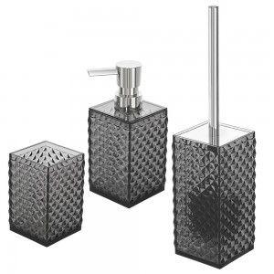 Set bagno 3 accessori in plastica nera trasparente