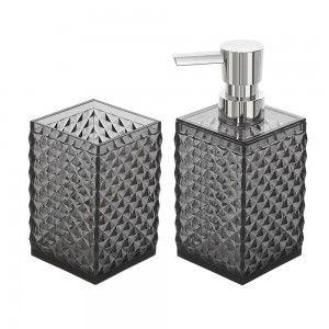 Set dispenser sapone e porta spazzolini da appoggio nero trasparente