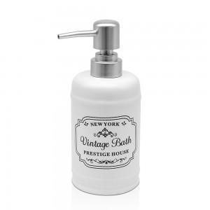 dispenser sapone bianco in ceramica stile vintage shabby