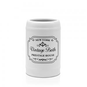 Portaspazzolino Ceramica Bianco Con Stampe Nere