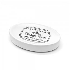 Portasapone In Ceramica Bianco Con Stampe Nere Stile Shabby