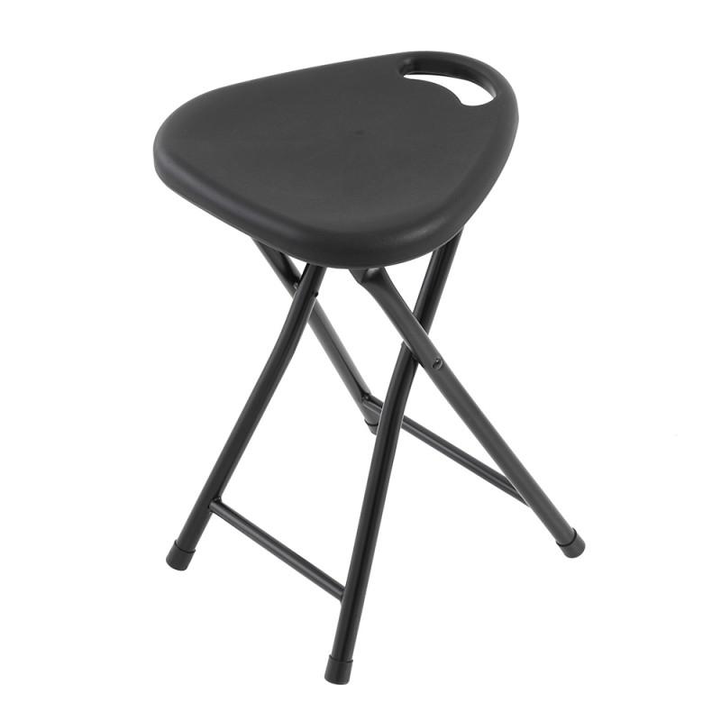 Sgabello Pieghevole Con Seduta In ABS E Gambe In Acciaio Nero
