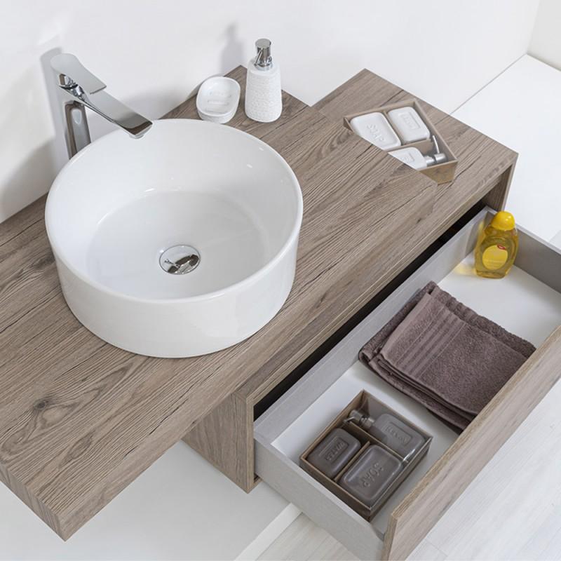 Ciotola Bagno d'Appoggio Diametro 40 cm in Ceramica Bianco Lucido