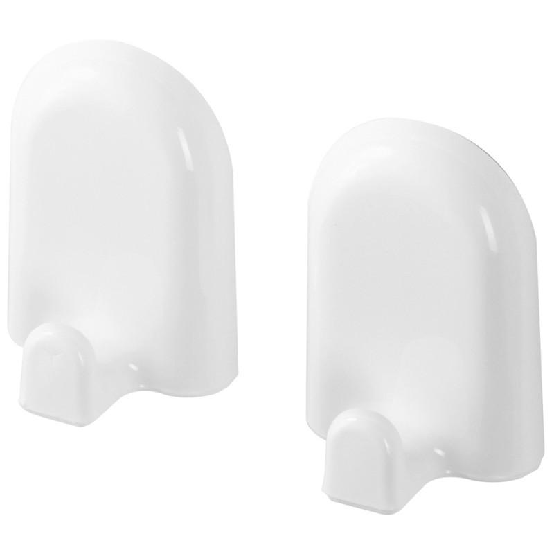 Set 2 Appendini in ABS Bianco con Doppio Fissaggio Tasselli o Biadesivo Gaia