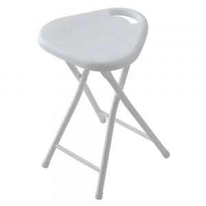 Sgabello Pieghevole con Seduta in ABS e Gambe in Acciaio Bianco