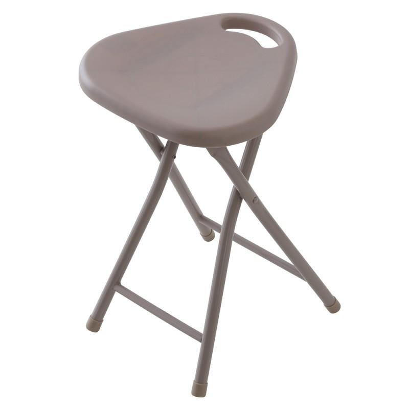 Sgabello Pieghevole Con Seduta In ABS E Gambe In Acciaio Tortora