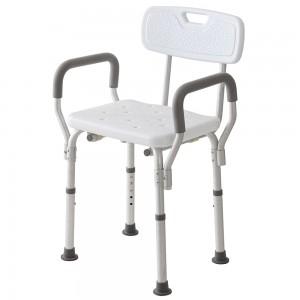 Sedile Doccia con Schienale e Braccioli Bianco Regolabile da 43 a 53 cm