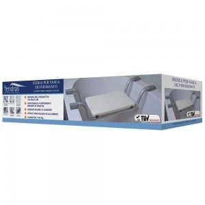 Sedile per Vasca Alluminio e Plastica  con Gommini Antiscivolo Bianco
