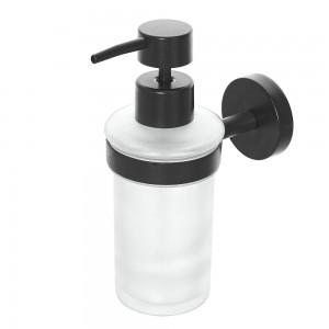 Dispenser Sapone Liquido a Parete in Vetro e Acciaio Nero Opaco