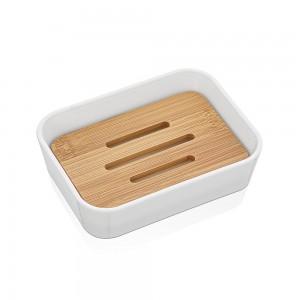 Portasapone da Appoggio Bianco in plastica con inserto in bamboo