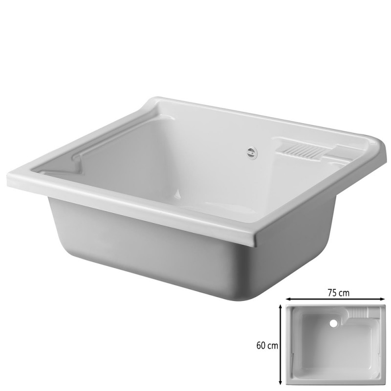 Vasca Lavatoio Da Esterno.Vasca Lavatoio Da Incasso 75x60 Cm In Termoformatura Bianco