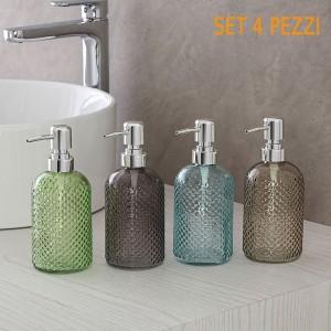 Set 4 Dispenser per il Sapone Liquido in Vetro diverse Colorazioni