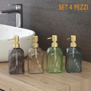 Set 4 Dispenser Sapone Liquido Diverse Colorazioni in Vetro