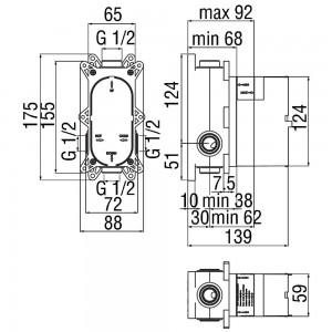 Miscelatore Doccia a Incasso con Deviatore Serie Cube