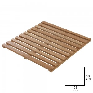 Pedana Doccia in Legno di Bambù 58x58 cm Quadrata