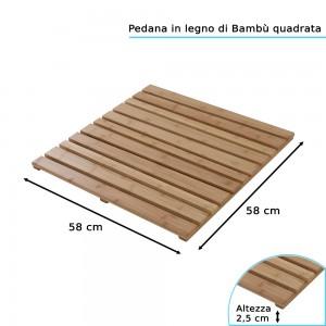 Pedana Doccia in Legno di Bambù 58x58 cm