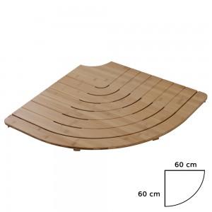 Pedana Doccia Semicircolare in Legno di Bamboo 60x60