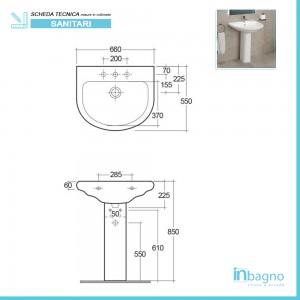Lavabo con Colonna Ceramica Rak Serie Orient completa di Colonna Rak Ceramiche - 2