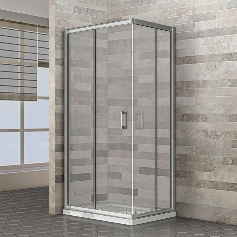 Box doccia angolare rettangolare 70x90 cm in cristallo temperato trasparente