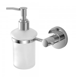 Dispenser Sapone Liquido Cromo e Vetro Satinato da Parete