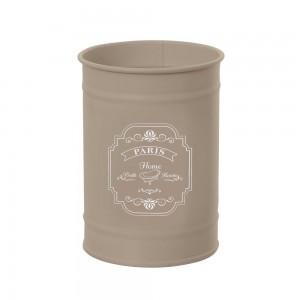 Bicchiere Portaspazzolino in Latta Vintage di colore Beige