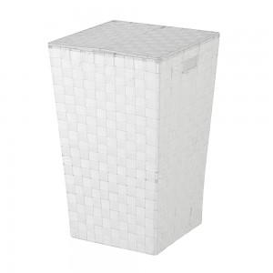 Portabiancheria in Poliestere Intrecciato Bianco (46 lt)
