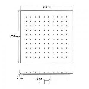 Soffione doccia dalla forma quadrata 25x25 cm in acciaio inox