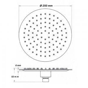 Soffione Doccia Tondo diam. 25 cm Design originale in Acciaio Inox
