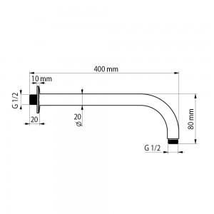 Braccio Doccia per Soffioni Lungo 40 cm in Acciaio Inox