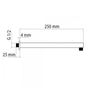 Braccio Doccia Quadrato 25 cm in Acciaio Inox