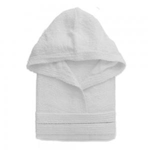 Accappatoio Cappuccio Cintura Tasche L Bianco