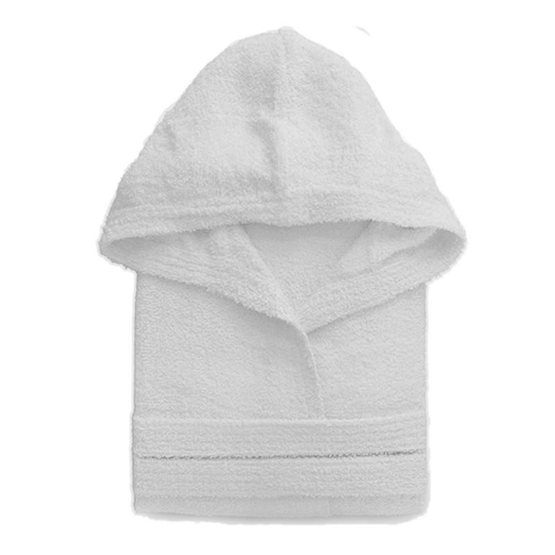 Accappatoio Bianco Taglia L Cappuccio Cintura E Tasche 100% Cotone