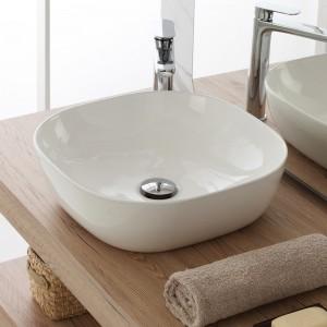 Ciotola da Appoggio Design Squadrato 42,5x42,5 cm in ceramica bianco lucido
