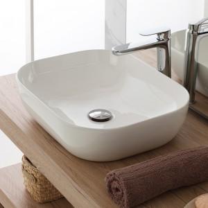 Ciotola Da Appoggio Design Squadrato 50,5x40,5 Cm In Ceramica Bianco Lucido