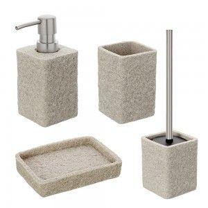 Set 4 Accessori  Sabbia Effetto Pietra In Resina E Sabbia Design Moderno