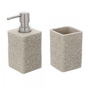 Set 2 Accessori Sabbia Effetto Pietra In Resina E Sabbia Design Moderno