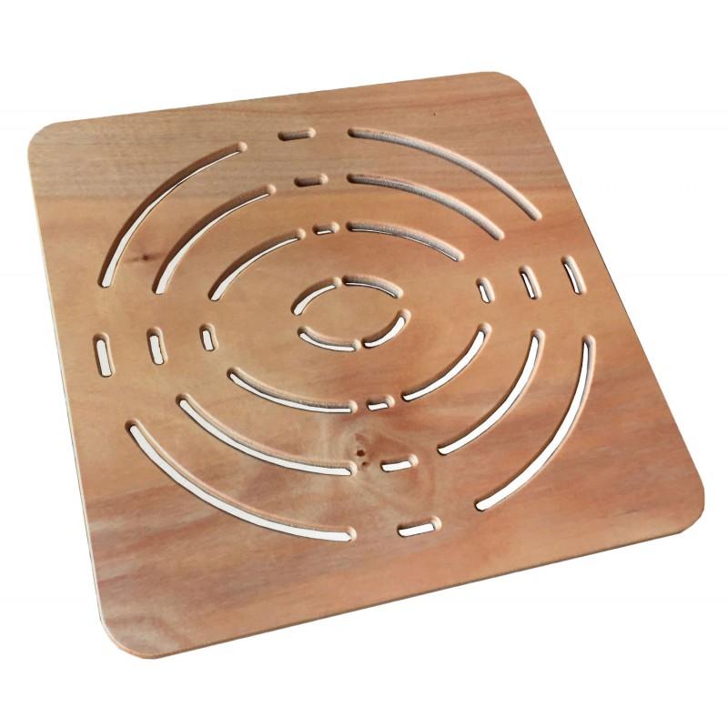 Pedana antiscivolo quadrata 50x50 in Legno Okumè ideale per piatto 70x70