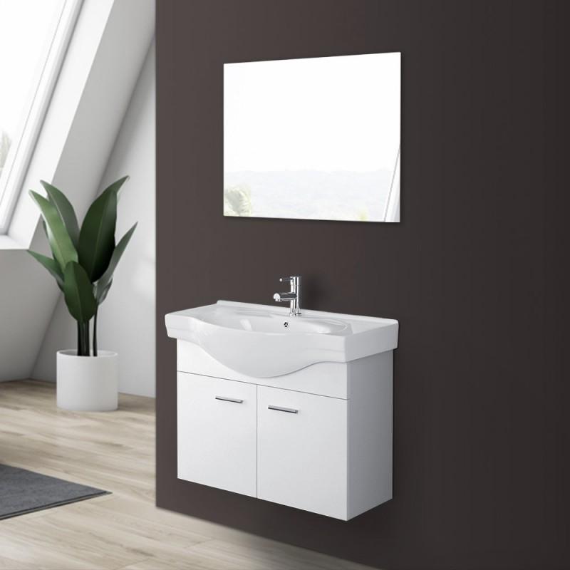 Mobile Bagno Sospeso in Legno Bianco Lucido 2 Ante Lavabo e Specchio incluso L.81 cm