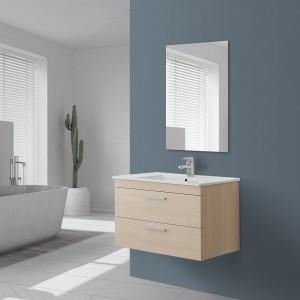 Mobile bagno sospeso salvaspazio in legno Larice con specchio e lavabo