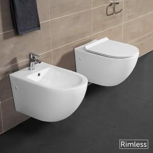 WC Sospeso Rimless Serie Tokyo Completi di Sedile Rallenty