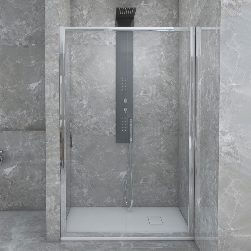 Porta Doccia Scorrevole Per Nicchia 140 Cm Con Vetro Trasparente 6 Mm