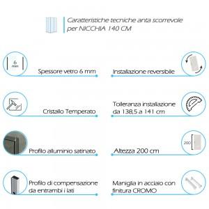 Porta Doccia Scorrevole Con Vetro Trasparente 6 Mm