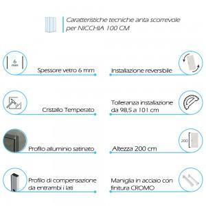 Caratteristiche Porta Doccia Scorrevole per Nicchia 100 cm