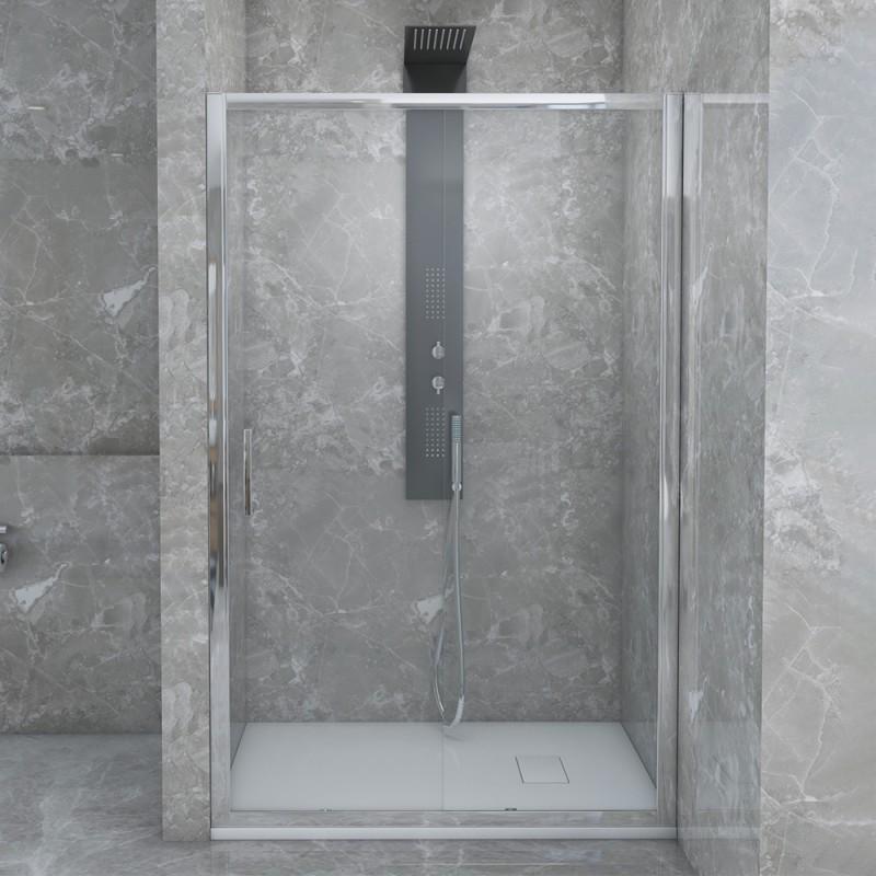Porta Doccia Scorrevole per Nicchia 100 cm con Vetro Trasparente 6 mm