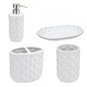 Set Ceramica 4 Pezzi: Dispenser Portaspazzolino Bicchiere Portasapone Bianco